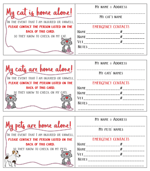 """My pet is home alone"" emergancy card - Free download"