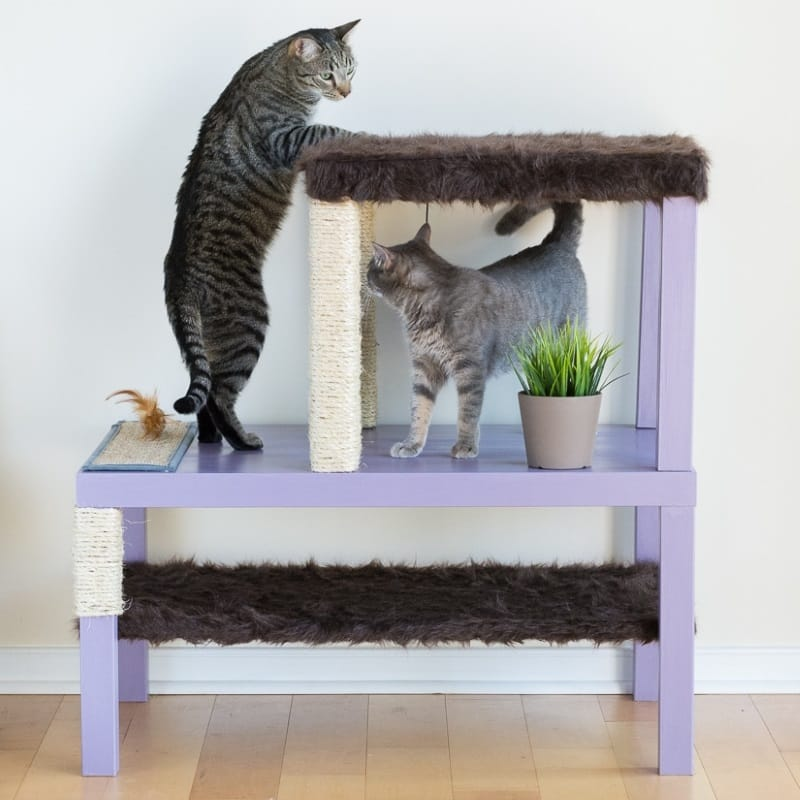 DIY cat condo made of Ikea tables