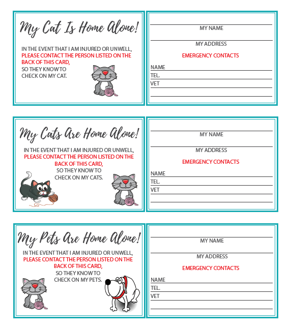"""""""My pet is home alone"""" emergency card - Free download"""